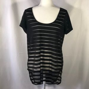 Black Striped Sheer Top